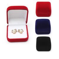 Wholesale Velvet Jewelry Bags Boxes - Wholesale 6*5.5*3.5cm Engagement Velvet Ring Bracelet Box Jewelry Display Storage Case Gift Wedding Favor Bag Packing Case Holder M255