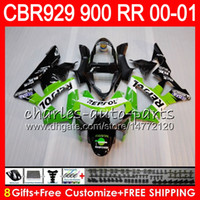Wholesale Honda Cbr929rr Repsol Fairing - Body For HONDA CBR 929RR CBR900RR CBR 929 RR CBR929RR 2000 2001 Repsol green 67NO31 CBR900 RR CBR 900RR CBR929 RR 00 01 Fairing kit 8Gifts