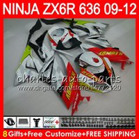 Wholesale Kawasaki Ninja 636 Fairings - 8Gifts 23Colors For KAWASAKI NINJA white black ZX636 ZX6R 09 10 11 12 600CC 25NO82 ZX 636 ZX 6R ZX-636 ZX-6R 2009 2010 2011 2012 Fairing kit