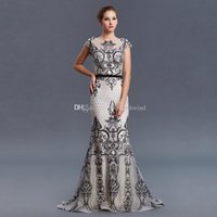 Wholesale Middle Sleeve Dress - real photos Middle East black vintage mermaid evening dresses 2018 heavily embroidery crystals beaded sweep train evening gowns