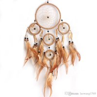 Dream Catcher coffee Circular Net con piume Wall Hanging Decoration Decor Ornament Spedizione gratuita