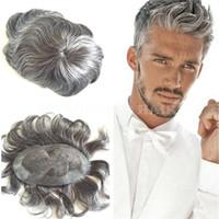 cheveux gris malaisiens vierges achat en gros de-Vente Hot 6inch 1B Mix Gris malaisienne Vierge Remy Cheveux raides postiche pour le vieil homme Livraison gratuite