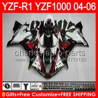 Wholesale black white fairings resale online - 8gifts Body For YAMAHA YZF R1 YZF R1 gloss black NO111 YZF YZF R YZF1000 YZFR1 black white Fairing