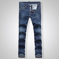 Wholesale Men Low Waist Jeans - Wholesale-2016 New winterr Top Quality Blue Washed Jeans Men Frayed Patch Low-waist Skinny Pants Famous Brand