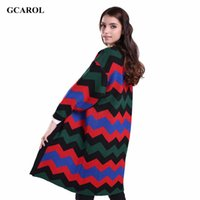 Wholesale Women Long Colorful Cardigans - Wholesale- Women New Wave Line Long Cardigan V-Neck Oversized Knitted Coat Korean Open Stitch Colorful Spring Autumn Winter Cardigan