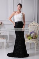 Wholesale Sweep Brush One Shoulder - Black &White Sequined Mermaid Trumpet One Shoulder Zipper Sweep Train Brush Train Sleeveless Evening Dresses