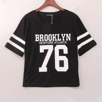 Wholesale Monogrammed Shirts - Wholesale- Summer Cropped Top 2016 Female BROOKLYN 76 Print Number Top Casual Short Sleeve Letters Print Monogrammed Crop T-Shirt Hot Sale