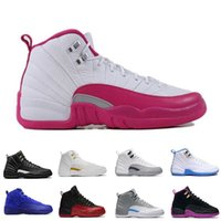 Wholesale Dynamic Black - 2018 12 women Basketball Shoes ovo white dynamic pink Dark Purple Dust GS Barons Hyper Violet University blue flu game sneakers
