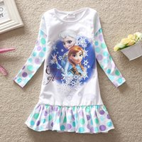 Wholesale Dress Shirt 22 - Fozen Girls Childrens Dresses Cotton Long Sleeve Girl Shirt Dresses Clothing Princess Dress for Girls Flora Printed Dresses Kids Clothes 22