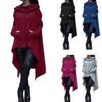 Wholesale Spring Color Scarves - 2017 new Women Pockets Long Hoodie Winter Spring Hoodies Scarf Collar Long Sleeve Fashion Casual Style Autumn Sweatshirts