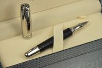 clip plat achat en gros de-Unique luxe Chopardd Pen Série Plat Cadeau En Métal @ Black Pu Stylo À Rouleau Nouvelle Arrivée Bright Silver Cap Silver Clip Box