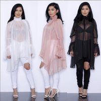 Wholesale Pink Ruffle Blouse Top - fashion new chiffon lace ruffles irregular long sleeve Sunscreen blouses plus size women summer spring sheer shirts dress tops coat