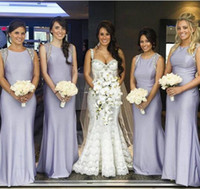 Wholesale Black Coral Gem - Free Shipping 2017 Cheap New Lilac Gem Plus Size Long Bridesmaid Dresses With Beading Evening Party Gowns