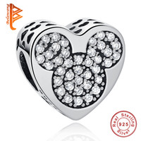 Wholesale Love Heart Shaped - BELAWANG 925 Sterling Silver Charms Heart Shape Clear Cubic Zirconia Beads Fit Pandora Charms Bracelet DIY Women Fashion Jewelry Making