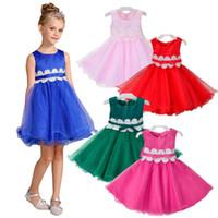 wholesale christmas dance dresses for kids new girl party dress lace flower belt princess kids