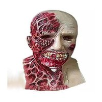 Wholesale full zombie masks online - 2017 New Horror Halloween Biochemical Crisis Cosplay Latex Costume Bloody Zombie Mask Melting Full Face Walking Dead Scary Party Masks Funny