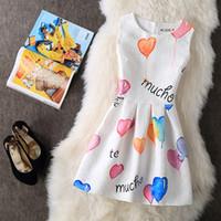 Wholesale Line Luxury Heart - NEW Women Summer Elegant Dress 2017 Balloon Print Heart Floral Luxury Woman Plus Size A-line New Casual Dresses