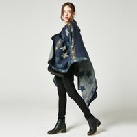 Wholesale Cashmere Ponchos For Women - New Designed Stars Striped Cashmere Extra Thick Shawl Fashion Oversized Blanket Warm Poncho Cape Cardigans Sweater Coat for Women