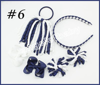Wholesale Korker Ribbons Wholesale - 70sets korker Ponytail streamers woven headbands hair ties bows clips flowers corker Curly ribbon Cheerleader hair bobbles Accessories PD026