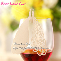 Wholesale Peacock Place Cards - 60PCS 2017 New Arrival Wedding Favor Guest Name Place Card, Laser Cut Peacock Wine Glass Card, Noble Table Mark Paper Party Decoration