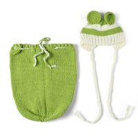 Wholesale Crochet Baby Hats Sleeping Bags - Latest Newborn Baby Boys Crochet Photo Props Hot Cartoon Costume Infant Baby Halloween Costume Sleeping Bag Props Baby Hat BP034