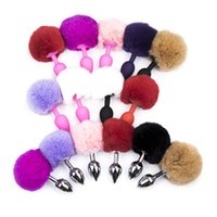 Wholesale Tail Anal Plug Colorful - Colorful Chuzzle Butt Plug Fluffyball Silicone Butt Plug Rabbit Tail Anal Plug Sex Toys for Woman Sex Products Q11