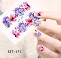 Wholesale 3d Nail Full Cover Stickers - Wholesale- 1sheets Manicure Tips Beauty Purples Oil Printing 3d DIY Designs Nail Art Water Transfer Stickers Decals Full Cover STZ131