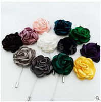 Wholesale Wholesale Yarns China - New fashion men brooch rose flower lapel pin suit burning flower corsage fabric yarn pin 12 colors button Stick brooches for wedding party