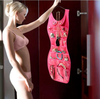 Wholesale Hanging Jewelry Dress - Wholesale- AB873 VIDEO tv sexy storage Dress Hanging Jewelry Brooch Bag Closet Display Organiser Holder Storage Pocket Cosmetic Cases 0.6