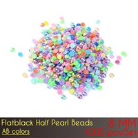 Wholesale Prices Pearl Jewelry Sets - ABS Flat Back Half Pearl Beads 8mm AB Color Nail DIY Jewelry Making Decoration with wholesale price 1000pcs Set