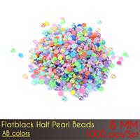pérolas para unhas lisas venda por atacado-ABS Flat Back Meia Pérola Beads 8mm AB Cor Prego DIY Jewelry Making Decoração com preço de atacado 1000 pçs / set