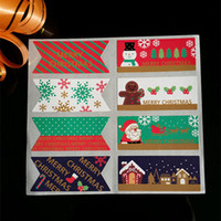 ingrosso biglietti da visita naturali all'ingrosso-Wholesale- 10page / lot (80pcs) adesivi quadrati di Natale Babbo Natale adesivo adesivo scatola di caramelle carta regalo decorazione Capodanno forniture per feste