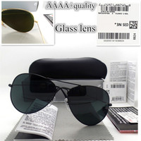 Wholesale vintage stickers - AAAA+ quality Glass lens Men Women Polit Fashion Sunglasses UV Protection Brand Designer Vintage Sport Sun glasses With box and sticker