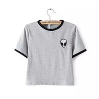 Wholesale Ufo Shirt - Wholesale-Alien UFO Printed Short Top Shirt Tee 2016 Fashion Women T-shirt Tumblr Tops Female kawaii Funny Free Shipping