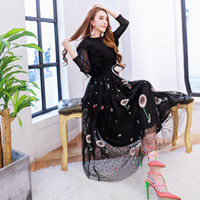 Wholesale Top Female Gown Dresses - Europe female spring lotus leaf edge Knitted Top Heavy embroidery gauze skirt Vest + two piece