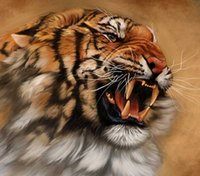 Wholesale Tiger Paintings Canvas - New DIY 5D Mosaic Diamond Painting Cross Stitch kits animal tiger full Resin square Diamonds Embroidery needlework Home Decor zf0249