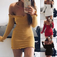 Wholesale Mini Dress Slim Free Shipping - Wholesale Autumn clothes, Slash neck long sleeved bag hip slim dress Polyester cotton free shipping