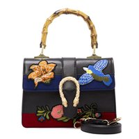 Wholesale Embroidered Fashion Handbags Tote Bags - Famous designer brand bags women Embroidered flowers handbags vintage Shoulder Bag Woman Messenger Bag snake head Totes