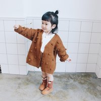 Wholesale Girls Toddler Sweater Coat - 2017 hot sales autumn kids sweater solid balls baby knitted cardigan fashion toddler boy sweater cotton outerwear baby girls sweater coat