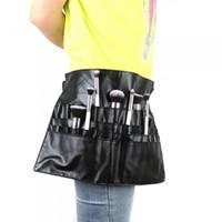 Wholesale Makeup Brushes Belt - Hot Sell Black Color PVC Professional Cosmetic Makeup Brush Apron Waist Bag Artist Belt Strap Holder