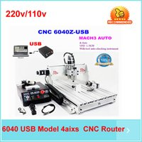 Wholesale Cnc Engraving Machinery - 2016 hot!! cnc engraving machine 4 AXIS CNC router 6040, with 1.5KW spindle USB port, woodworking water jet cutting machinery