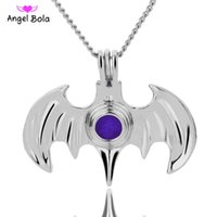 Wholesale Wholesale Batman Party Plates - 5 lot 3 colors Wholesale Batman cages pearl cage pendant Yoga Aromatherapy Essential Oils Surgical Perfume Diffuser Locket Necklace
