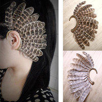 Wholesale Earring Screw - 6 Pcs Unique Feather Ear Cuff No Pierced Gold Plated Exaggerated Ear Clip on Earrings Retro Ethnic Women Men Jewelry