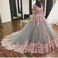 Wholesale Gown Dreses - 2017 Long Sleeves Evening Dreses Dubai Sexy V Neck Ball Gown Lace Appliques Formal Dress For Evening Party Vestido De Festa