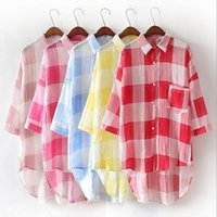 Wholesale Protective Shirt - Plaid Shirts Blouses Summer Loose Tops Long Sun-Protective Clothing Casual Oversized Rash Guard Irregular T Shirts Women Pullover Coat B2385
