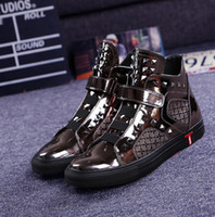 Wholesale Silver Hip Hop Shoes - New Hip Hop High Top Men Casual Shoes 3 Color Ankle boots Calzado Zapatos Hombre Chaussure Homme Sapato Masculino
