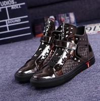 ingrosso zapatos hombre hip hop-New Hip Hop High Top Uomo Casual Scarpe 3 Colori stivaletti Calzado Zapatos Hombre Chaussure Homme Sapato Masculino