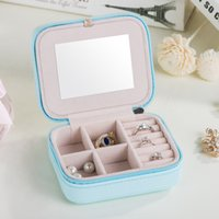 Wholesale Leather Jewelry Box Necklace - 2017 Korean Style PU Leather Jewelry Box Women Earring Ring Necklace Storage Box Jewelry Storage Organizer Container Mini Jewelry Boxes