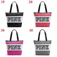 Wholesale Small Gift Satchel Bags Wholesale - Fashion Pink Letter Handbags Secret VS Shoulder Bags Women Love Large Capacity Travel Duffle Striped Waterproof Beach Shoulder gift purse