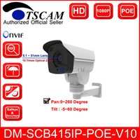 Wholesale Ip Optical - 2017 new TSCAM DM-SCB415IP-POE-V10 Outdoor CCTV Bullet IP Camera HD 1080P 2.0MP 10X Optical Zoom IR MINI PTZ POE Security Camera P2P